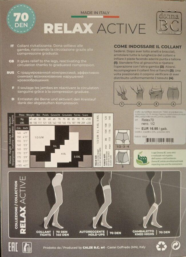 Medicīniskās zeķbikses ar kompresiju (mmHg 13-15 ) Relax Active 70 den DONNA BC