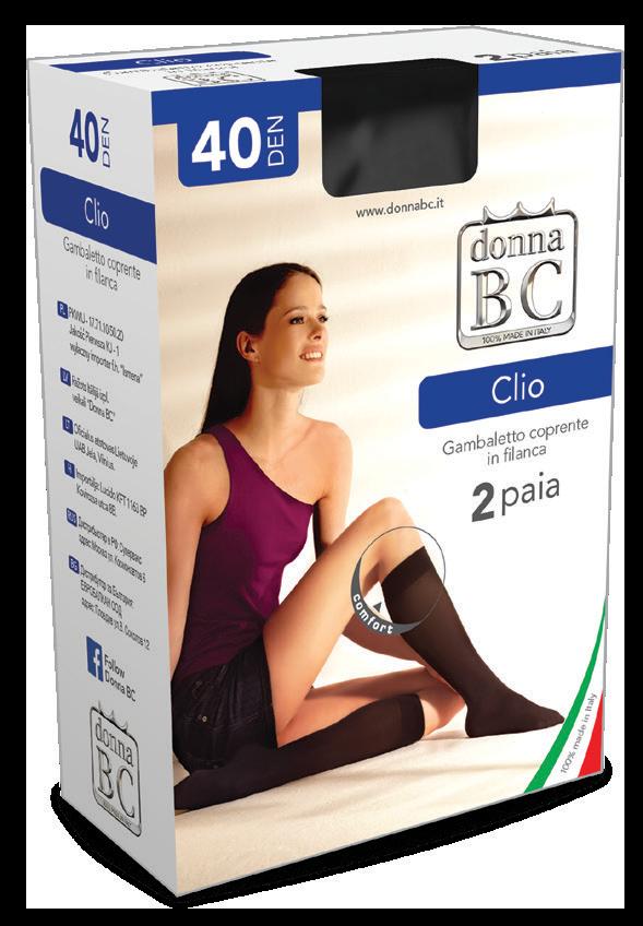 Pusgarās zeķes /kastītē/ Clio 40 den 2 pāri iepakojumā DONNA BC